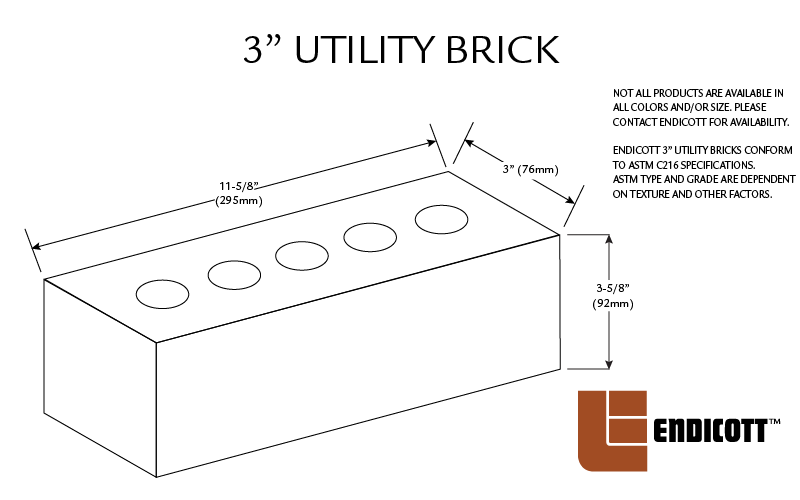 3 Inch Utility Face Brick